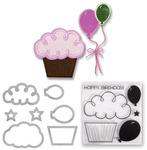 Balloons & Cupcakes Framelits Dies With Clear Stamps- Sizzix