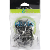 Brushed Silver - Eyelet Outlet Round Brads 8mm 40/Pkg