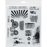 "Bitty Grunge - Tim Holtz Cling Rubber Stamp Set 7""X8.5"""