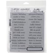 """Simple Sayings - Tim Holtz Cling Rubber Stamp Set 7""""X8.5"""""""