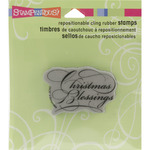 "Scripty Blessings - Stampendous Christmas Cling Rubber Stamp 3.5""X4"" Sheet"