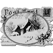 Snowy Postcard - Stampendous Christmas Cling Rubber Stamp