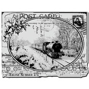 Train Postcard - Stampendous Christmas Cling Rubber Stamp