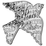 Dove Music - Stampendous Christmas Cling Rubber Stamp