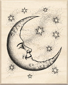 Crescent Moon - Inkadinkado Mounted Rubber Stamp