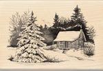 Snowy Cabin - Inkadinkado Christmas Mounted Rubber Stamp