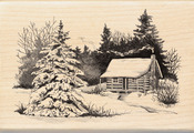 Snowy Cabin - Inkadinkado Christmas Mounted Rubber Stamp
