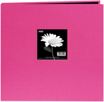 "Bright Pink - Book Cloth Cover Post Bound Album 12""X12"""