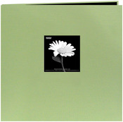 "Sage Green - Book Cloth Cover Post Bound Album 8""X8"""