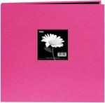 "Bright Pink - Book Cloth Cover Post Bound Album 8""X8"""