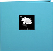 "Turquoise Blue - Book Cloth Cover Post Bound Album 8""X8"""