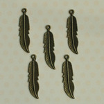 """Antique Mini Quill Feathers 1.75""""X.4"""" - Vintage Metal Findings 5/Pkg"""