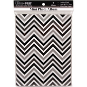 "Chevron Black & White - Mini Photo Album 4""X6"" Holds 24 Photos"