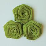 """Lime - Vintage Linen Burlap Roses 2"""" 3/Pkg"""