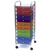"15.25""X37.5""X13"" Multicolor - Cropper Hopper Home Center Rolling Cart W/10 Drawe"