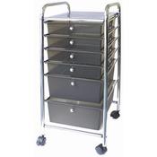 "15.25""X31.75""X13"" Smoke - Cropper Hopper Home Center Rolling Cart W/6 Drawers"