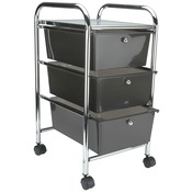 "15.25""X26""X13"" Smoke - Cropper Hopper Home Center Rolling Cart W/3 Drawers"