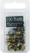 Round - Black - Mini Painted Metal Paper Fasteners 3mm 100/Pkg