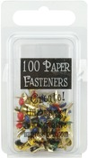 Round - Primary - Mini Painted Metal Paper Fasteners 3mm 100/Pkg