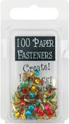Round - Metallic - Mini Painted Metal Paper Fasteners 3mm 100/Pkg