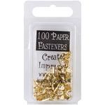 Hearts - Gold - Mini Metal Paper Fasteners 100/Pkg