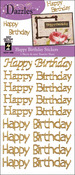 Gold Happy Birthday Greetings - Dazzles Stickers 2/Pkg