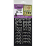 Black Happy Birthday Greetings - Dazzles Stickers 2/Pkg
