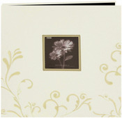 """Ivory - Scroll Embroidery Fabric Post Bound Album 12""""X12"""""""