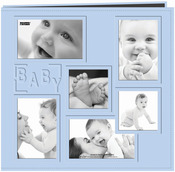 "Baby - Blue - Sewn Embossed Collage Frame Post Bound Album 12""X12"""