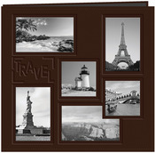 "Travel - Brown - Sewn Embossed Collage Frame Post Bound Album 12""X12"""