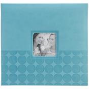 """Aqua Circles - Embossed Post Bound Scrapbook Album 12""""X12"""""""