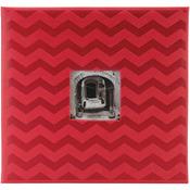 "Red Chevron - Embossed Post Bound Scrapbook Album 12""X12"""