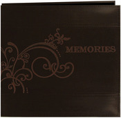 """Brown - Embroidered Scroll Leatherette Post Bound Album 12""""X12"""""""