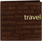 "Travel - Text Faux Suede Post Bound Scrapbook 12""X12"""