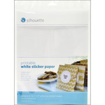 "White - Silhouette Printable Sticker Paper 8.5""X11"" 8/Pkg"