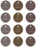 "Antique Nickel, Brass & Copper - Idea-Ology Philosophy Tags 1"" 12/Pkg"