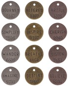 "Antique Nickel, Brass & Copper - Idea-Ology Philosophy Tags 1"" 12/Pkg"
