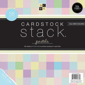 "Pastel Texture Solids W/White Core - Cardstock Stack 12""X12"" 58/Pkg"