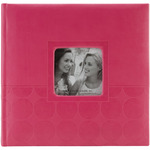 """Pink Circles - Embossed 2-Up Photo Album 4""""X6"""" 200 Pockets"""