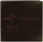 """Brown - Embroidered Scroll Leatherette Photo Album 8""""X8"""" 200 Pockets"""