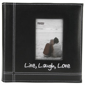 "Live, Laugh & Love - Black - Embroidered Stitched Leatherette Photo Album 9""X9"""