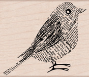 Newsprint Bird - Hero Arts Mounted Rubber Stamps