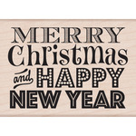 Merry Christmas & Happy New Year - Hero Arts Mounted Rubber Stamps