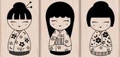 3 Japanese Dolls - Hero Arts Mounted Rubber Stamp Set