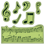 Music Notes Inkadinkado Cling Mini Stamps