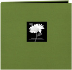 "Herbal Green - Fabric Frame Post Bound Scrapbook 12""X12"""