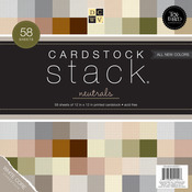 """Neutral Texture Solids W/White Core - Cardstock Stack 12""""X12"""" 58/Pkg"""