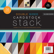 """Textured Solids W/White Core - Cardstock Stack Double-Sided 12""""X12"""" 58/Pkg"""