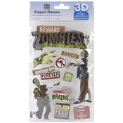 Beware Zombies - Paper House 3D Stickers