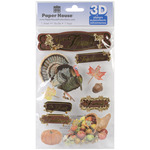 Give Thanks - Paper House 3D Stickers
